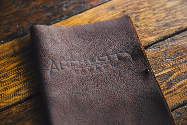 New Leather Menus from Willy+Wade at Arch City Tavern in Columbus