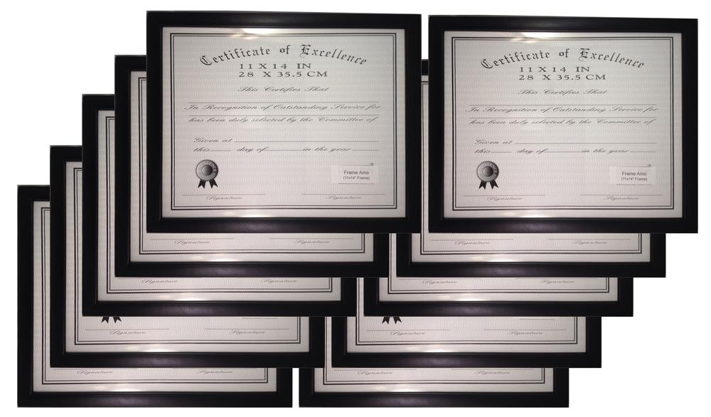 10 pack black wood certificate frame with flat border 85 x 11