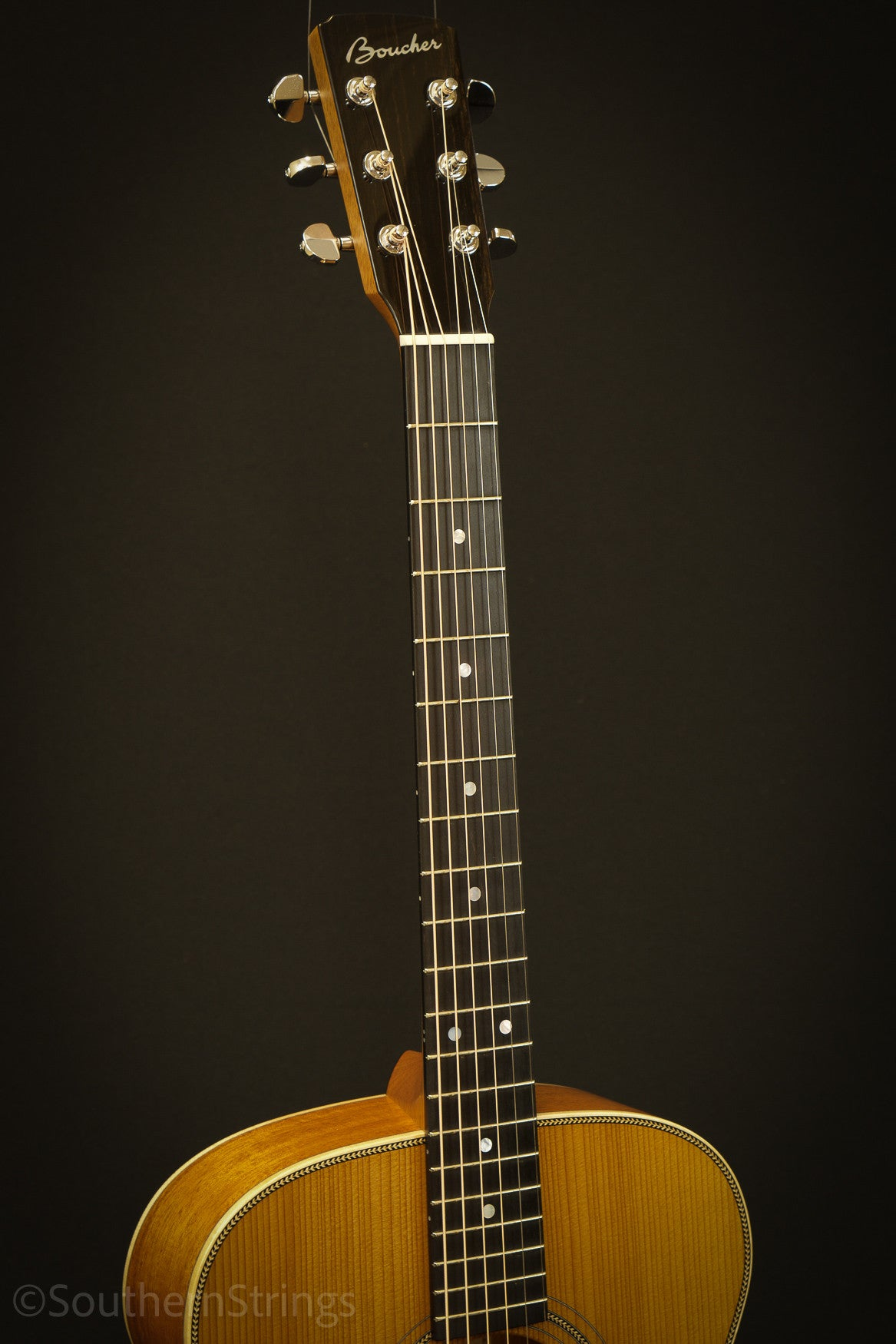 Boucher Mahogany Studio Goose OM Hybrid with Gold Touch