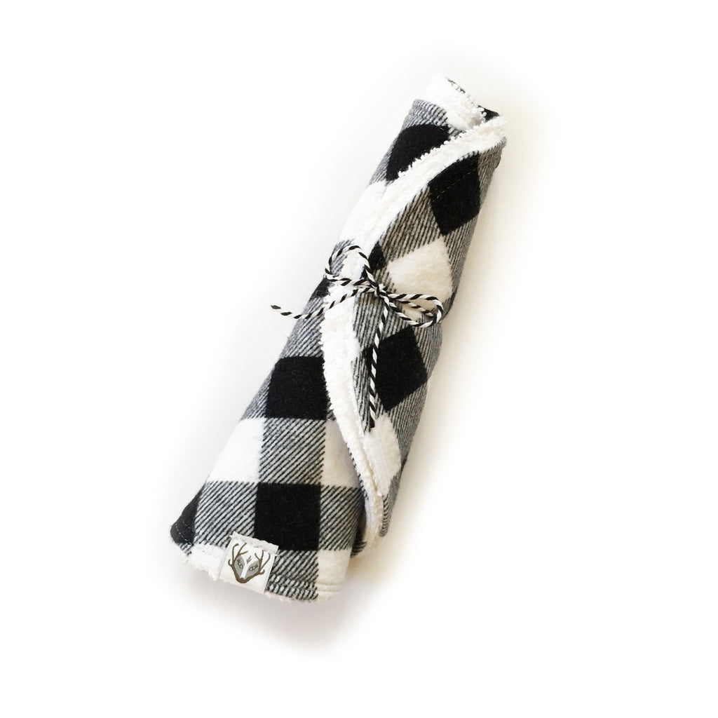 Premium Snap Burpees, Black + White Buffalo Plaid