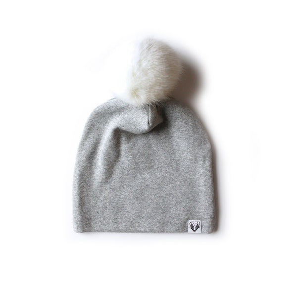 Faux Fur Jumbo Pom Hat; Grey with Hare