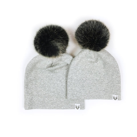 Faux Fur Jumbo Pom Hat; Grey with Grizzly