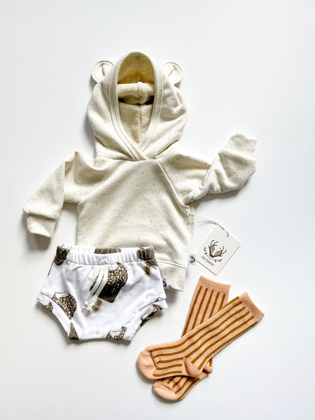 Nixi Ear Hoodie; Teddy Bear, Vanilla Bean Speckle