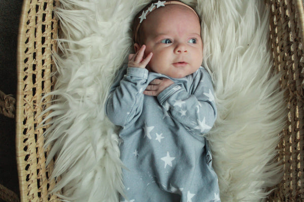 Baby Gown; Twinkle Stars on Grey
