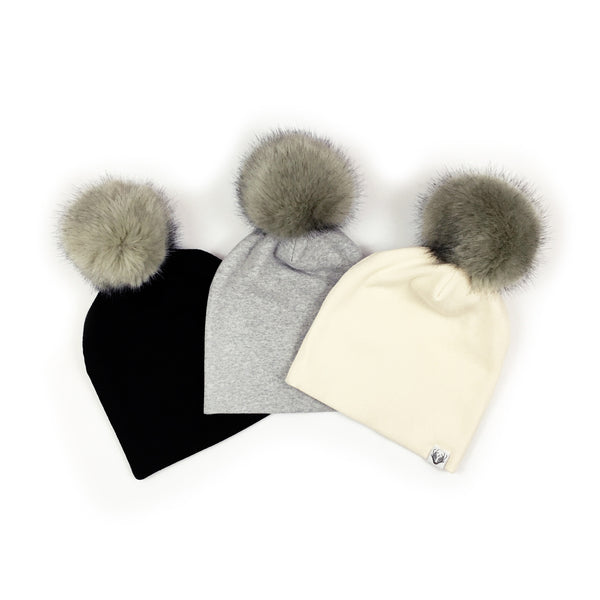 Faux Fur Jumbo Pom Hat; White with Hare