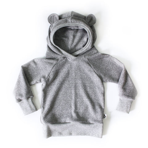 Nixi Ear Hoodie; Teddy Bear, Marl Grey