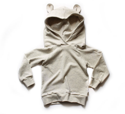 Nixi Ear Hoodie; Teddy Bear, Oatmeal (lightweight)
