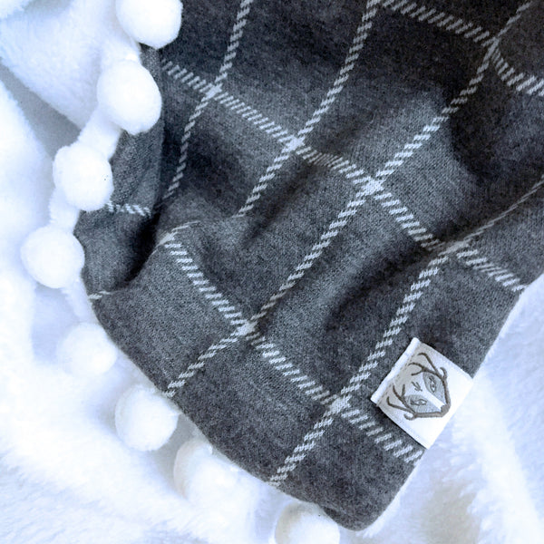 Plaid & Pompon Snuggle Blanket