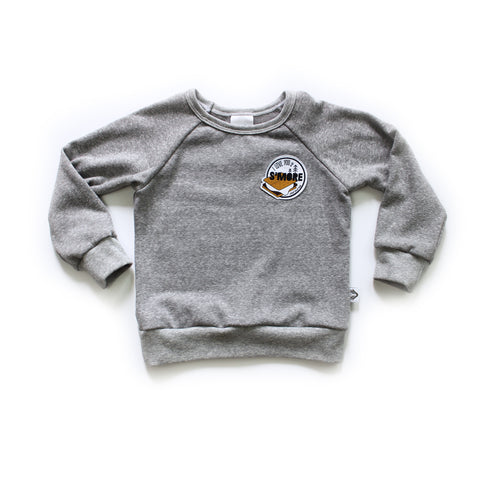 Nixi Classic Pullover; I love you S'MORE on grey
