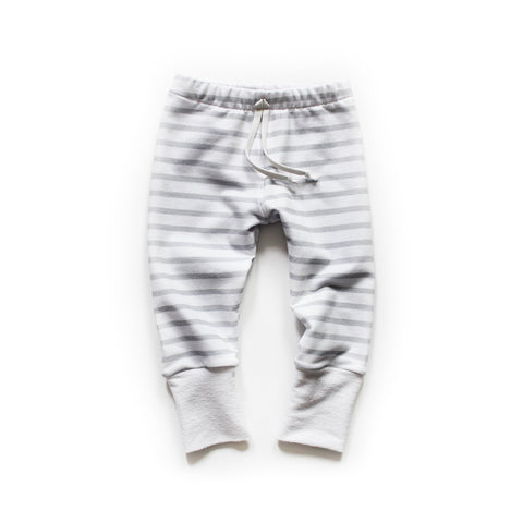 Nixi Lounge Pants; Soft Grey Stripe