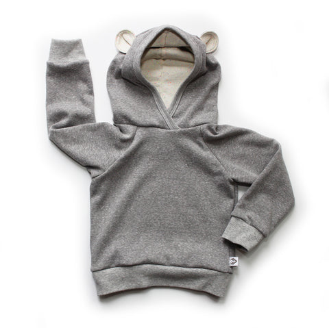 Nixi Ear Hoodie; Teddy Bear, Neon Speckle Lining, Ltd. Ed. Grey Marl