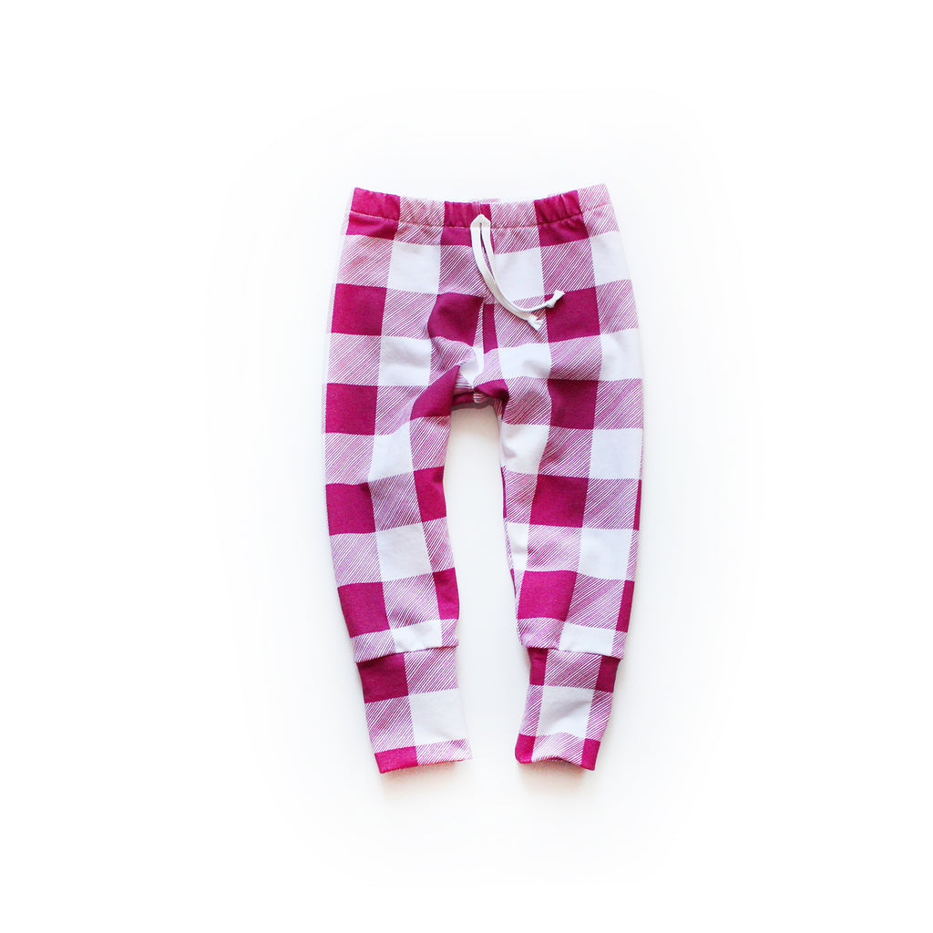 Nixi Lounge Pants; Winterberry Buffalo Plaid