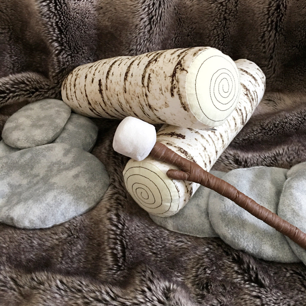 Log Bolster Pillow; White Birch