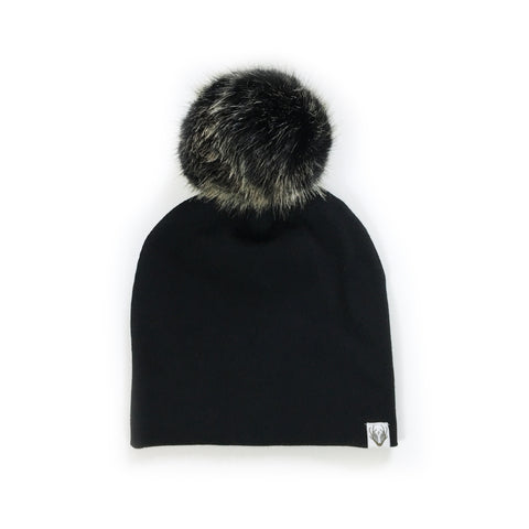 Faux Fur Jumbo Pom Hat; Black with Grizzly