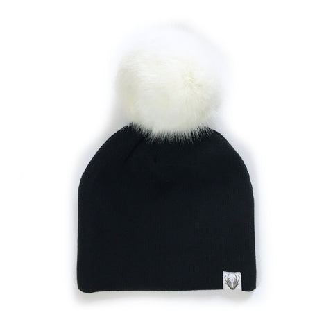 Faux Fur Jumbo Pom Hat; Black with Hare
