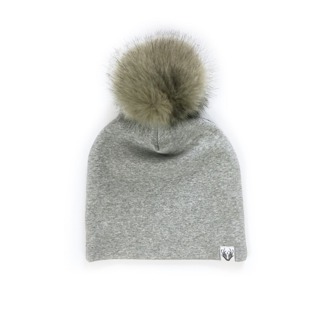 Faux Fur Jumbo Pom Hat; Grey with Lynx