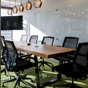 Recycle BC Boardroom Table-Cedare Live Edge Slab with Black Metal Trapezoid Base