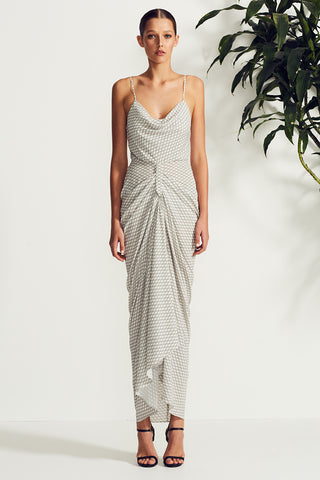 LA SOLA COWL DRAPED MAXI DRESS