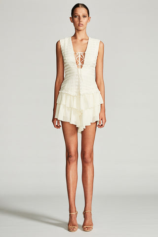 VENUS WAISTCOAT MINI DRESS - IVORY