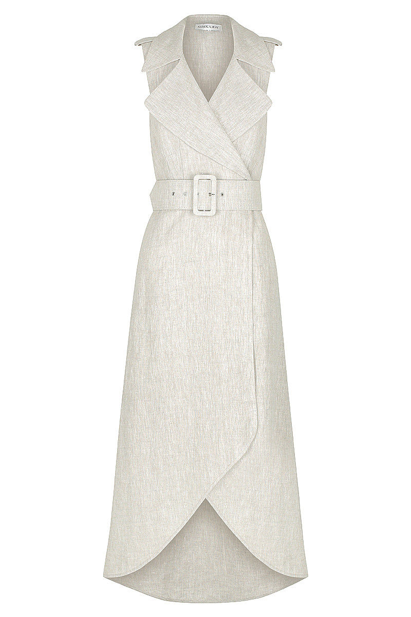 ATTICUS LINEN SLEEVELESS TRENCH MIDI DRESS WITH BELT