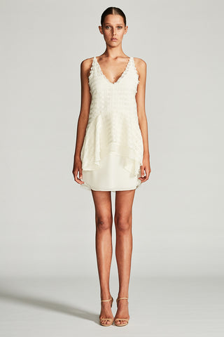VENUS FRILL MINI DRESS - IVORY