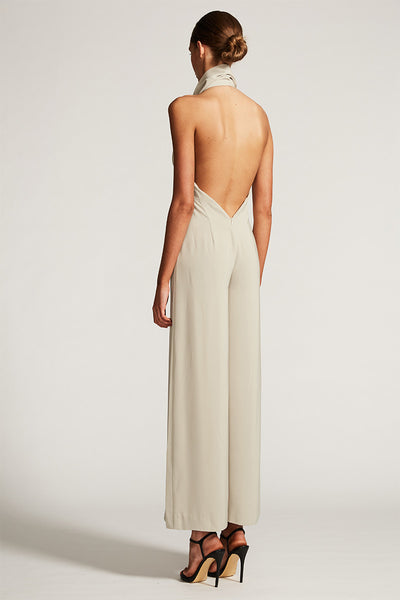 CORE FUNNEL NECK BACKLESS JUMPSUIT - OYSTER