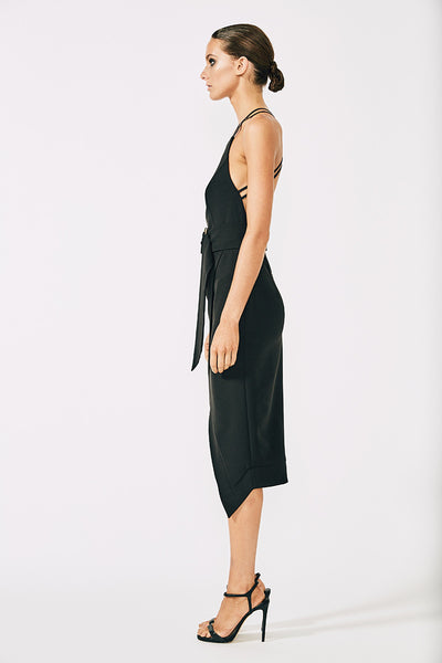 VILLEFORT CROSS BACK COCKTAIL DRESS WITH RINGS