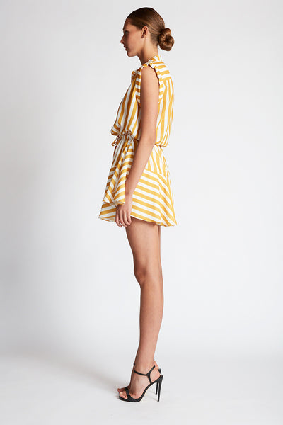 CAPRI MINI SHIRT DRESS - ANTIQUE GOLD STRIPE
