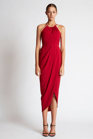 CORE HIGH NECK RUCHED DRESS - CRIMSON