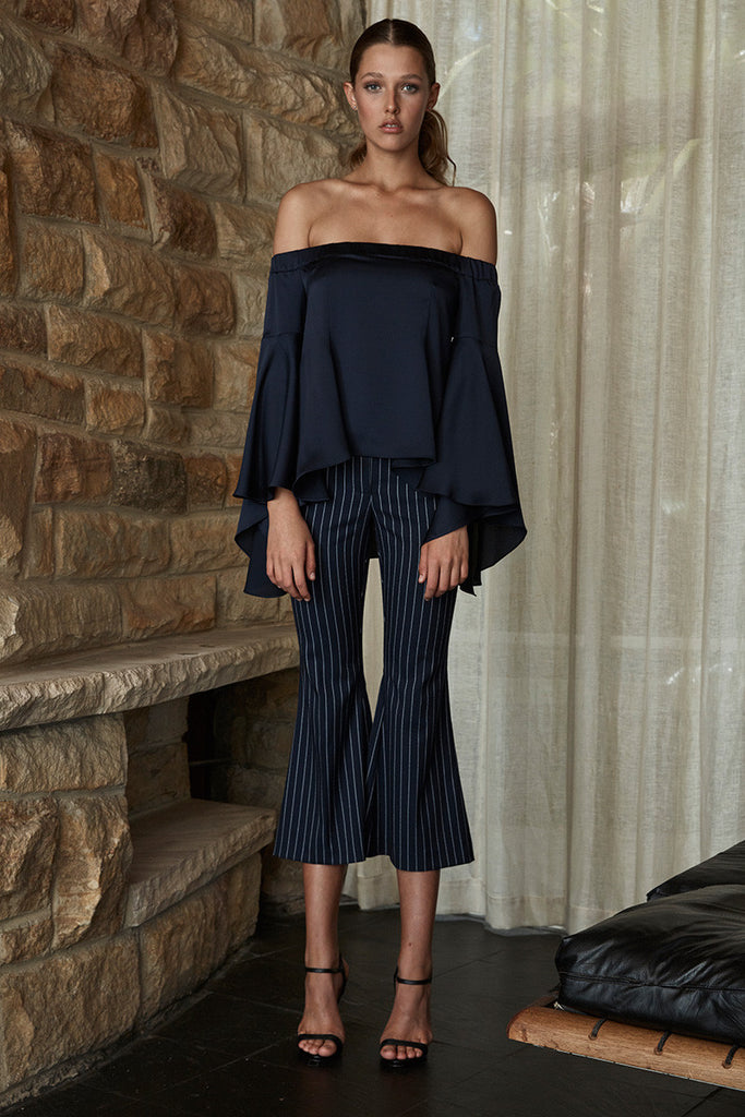 DELILAH OFF THE SHOULDER FLARED SLEEVE TOP - NAVY