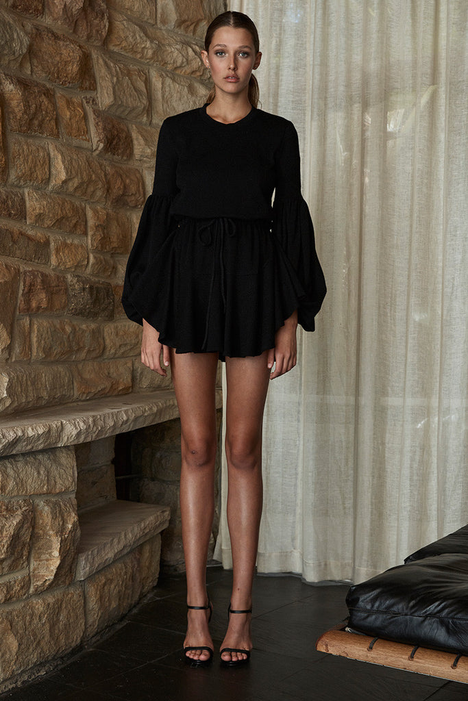 DIANA BALLOON SLEEVE DRAWSTRING MINI DRESS