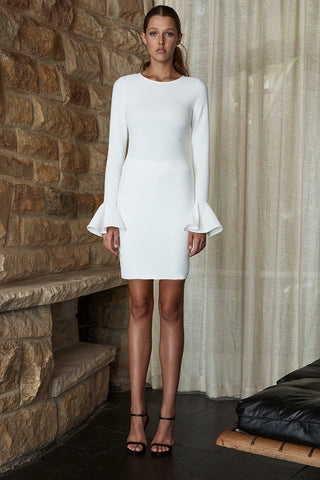 LORI FRILL CUFF TUNIC DRESS - IVORY