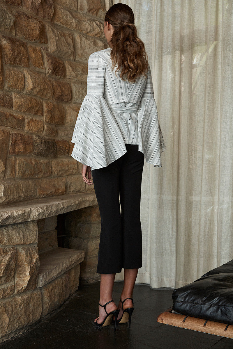 SHARONA FLARED SLEEVE WRAP BLOUSE - WHITE