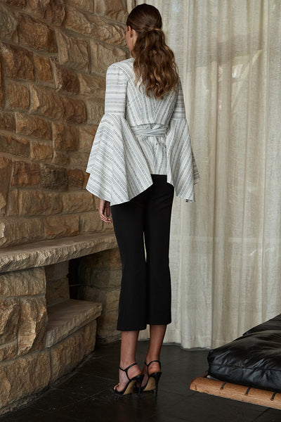 SHARONA FLARED SLEEVE WRAP BLOUSE