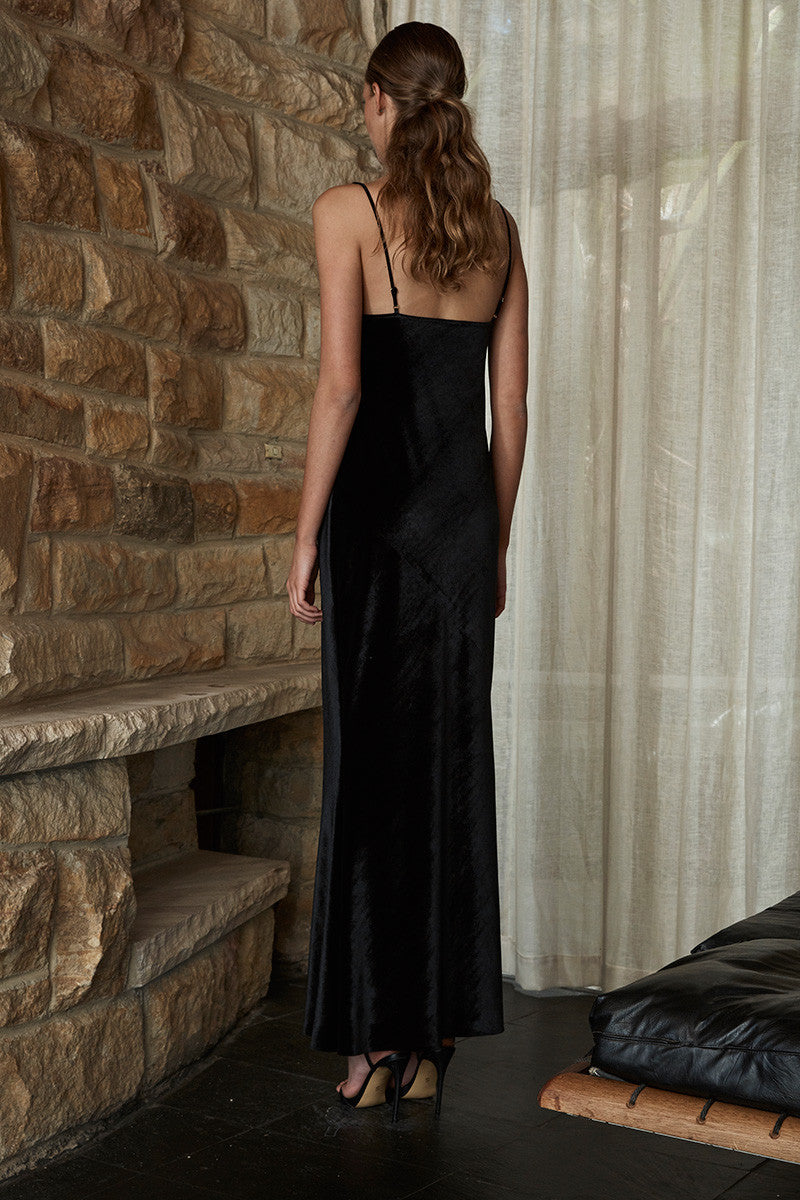 DAWN BIAS SLIP MAXI DRESS - BLACK