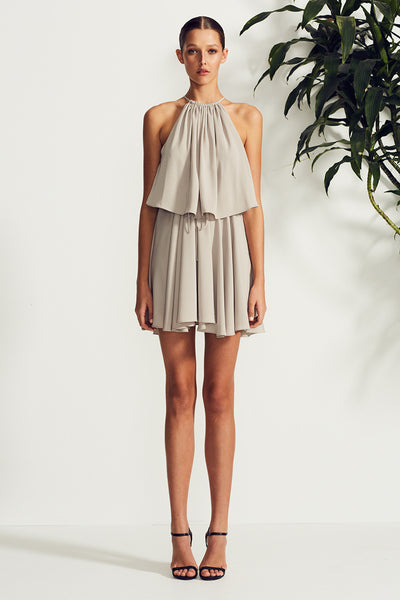 ZELDA HIGH NECK LAYERED MINI DRESS - OYSTER