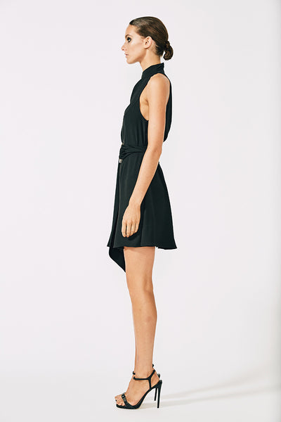 VOLTAIRE HIGH NECK MINI DRESS WITH RINGS - BLACK