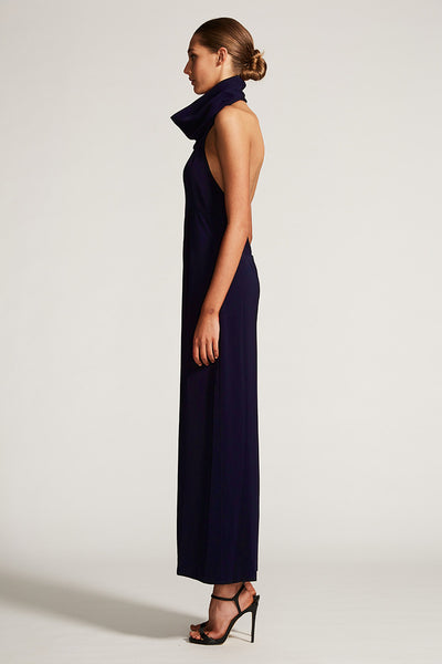 CORE FUNNEL NECK BACKLESS JUMPSUIT - NAVY
