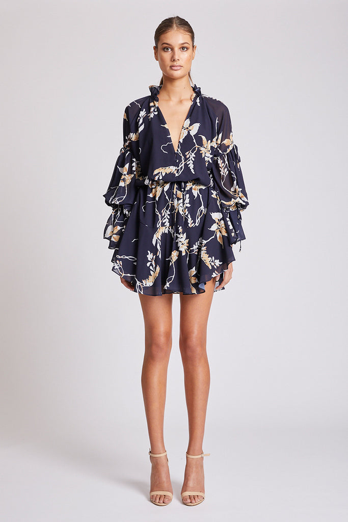 CURACAO TIE SLEEVE DRAWSTRING MINI DRESS