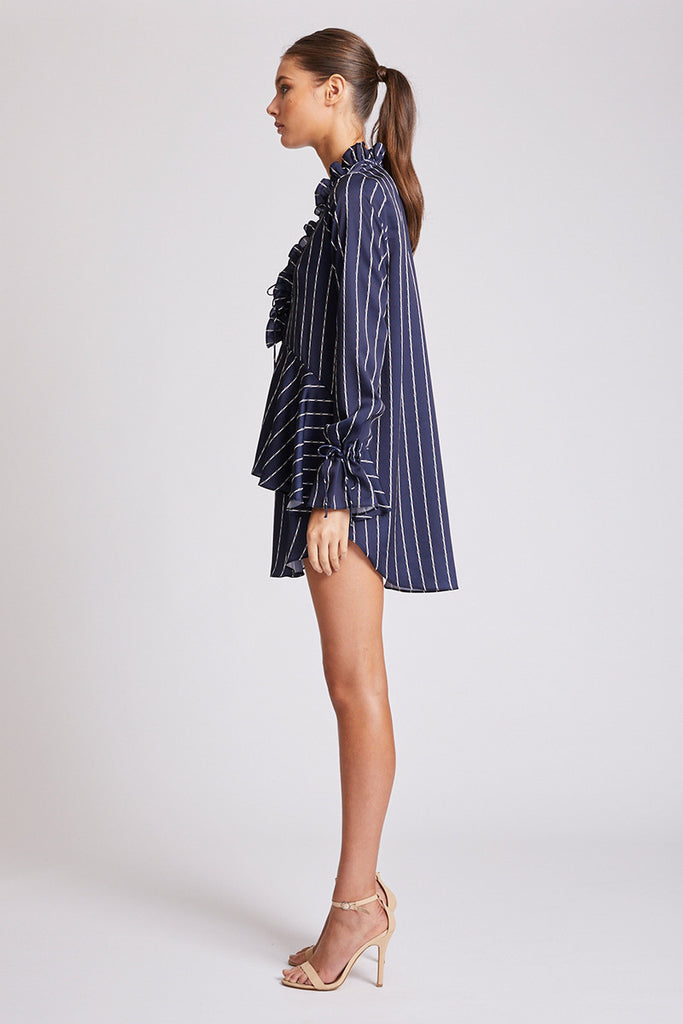 BERMUDA LACE UP MINI DRESS - NAVY