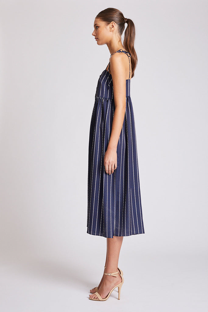 BERMUDA BABY DOLL MIDI DRESS - NAVY