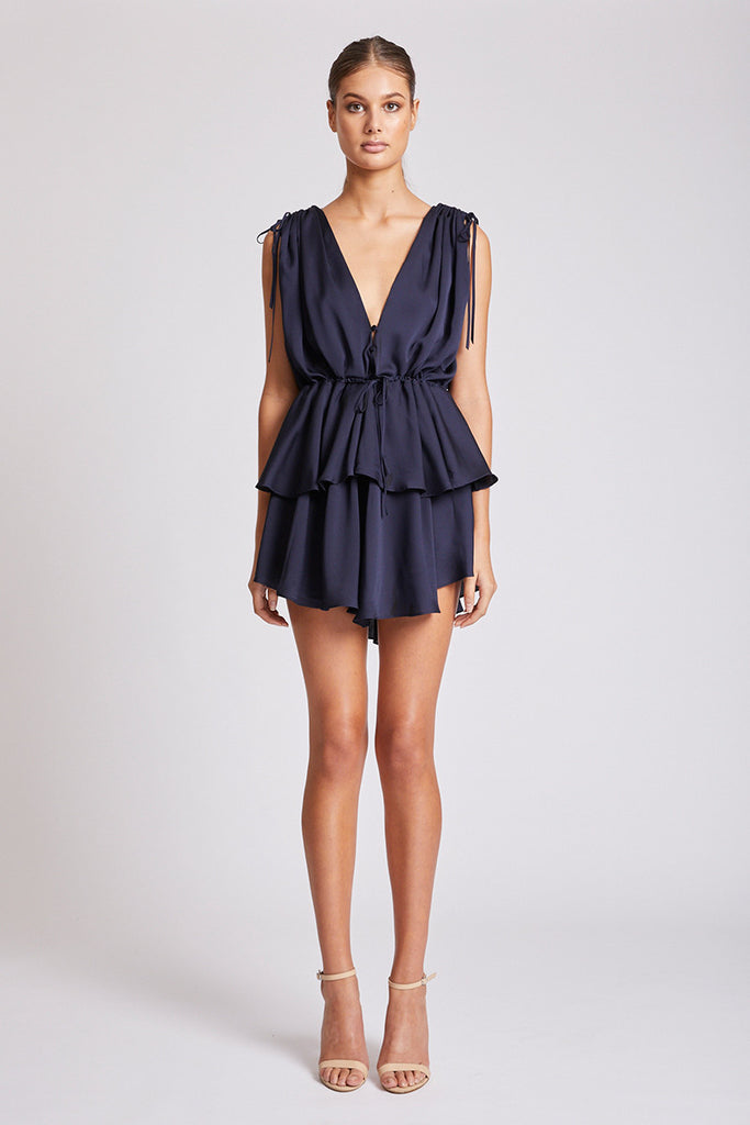 CALYPSO RUCHED PEPLUM MINI DRESS - NAVY