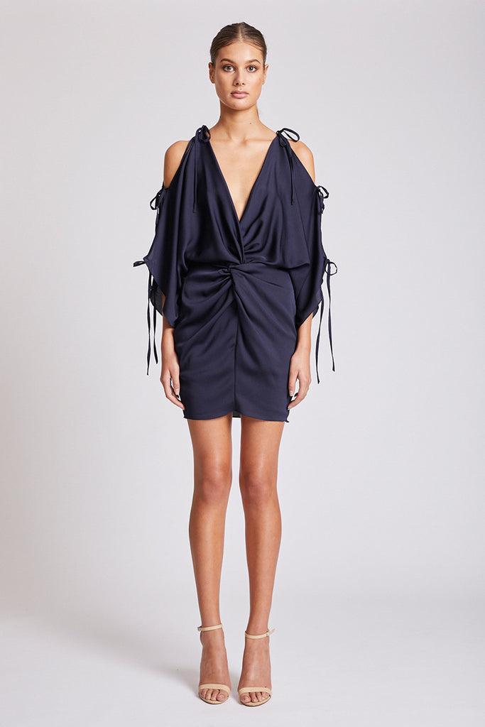 CALYPSO TWIST KIMONO MINI DRESS - NAVY