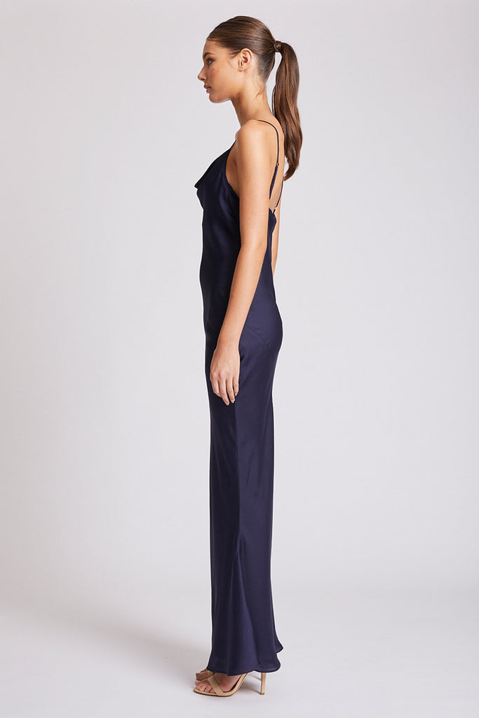 CALYPSO BIAS COWL SLIP DRESS - NAVY