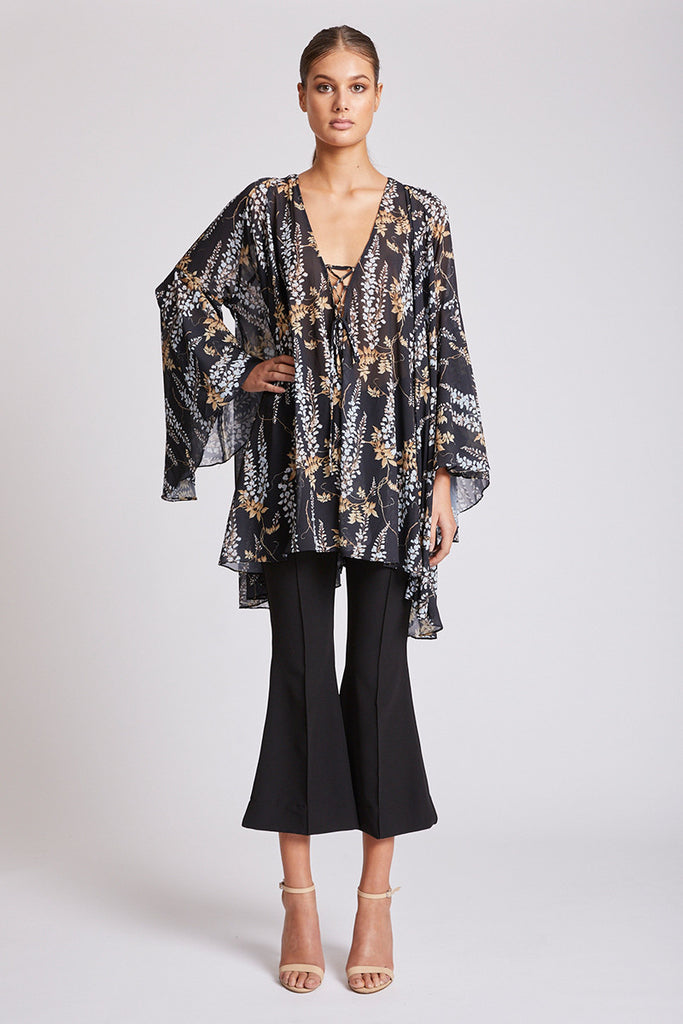 BONAIRE FLARED SLEEVE TUNIC - BLACK