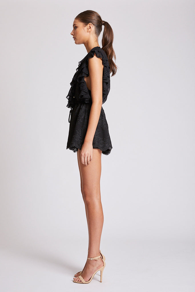 ANTIGUA LACE UP DRAWSTRING PLAYSUIT - BLACK