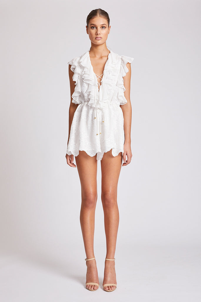 ANTIGUA LACE UP DRAWSTRING PLAYSUIT - IVORY