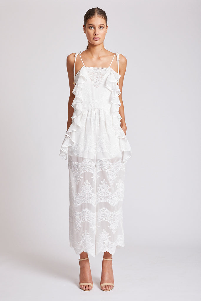 ANTIGUA PINAFORE JUMPSUIT - IVORY