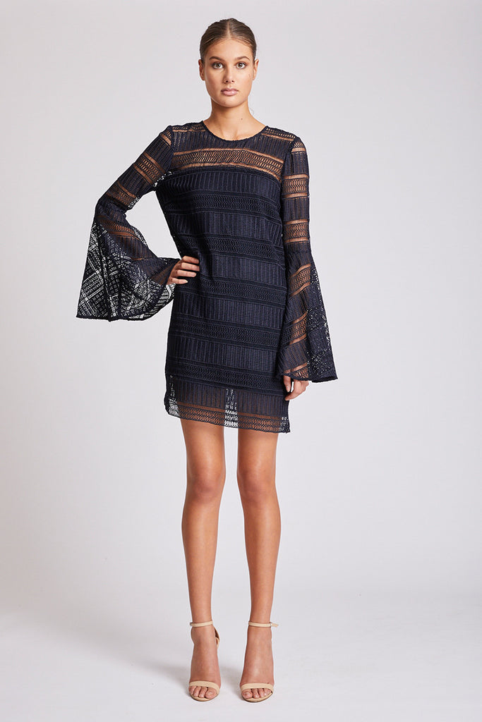 ARUBA FLARED SLEEVE SHIFT DRESS - NAVY