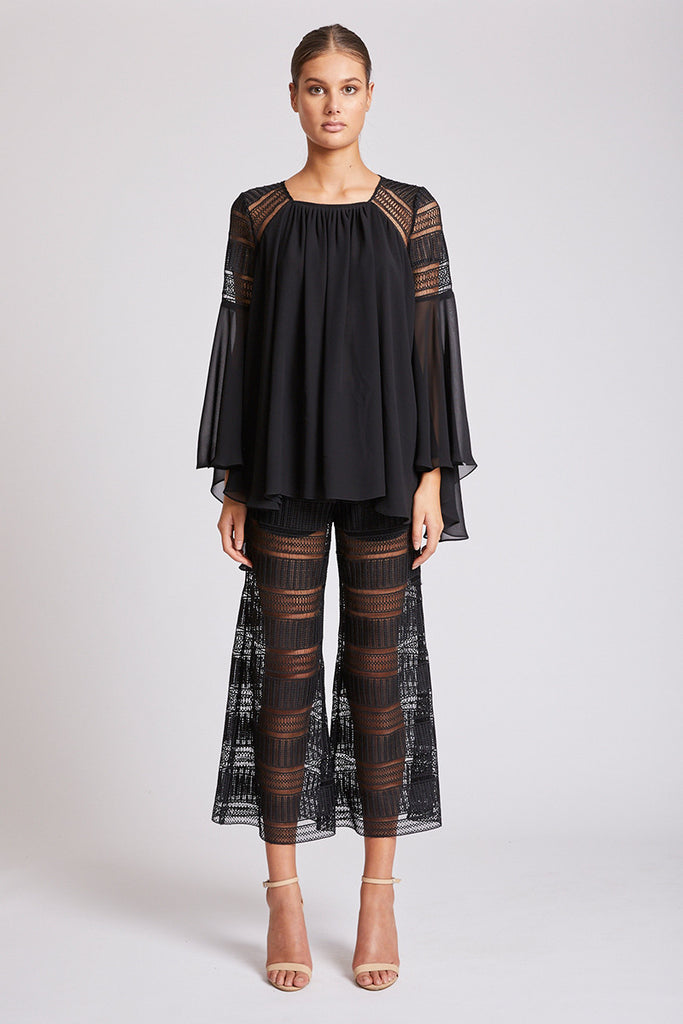 ARUBA FLARED SLEEVE BLOUSE - BLACK